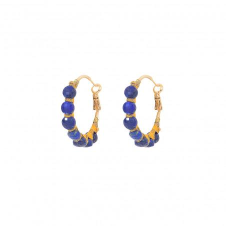 Woven hoop earrings for pierced ears with lapis lazuli I blue