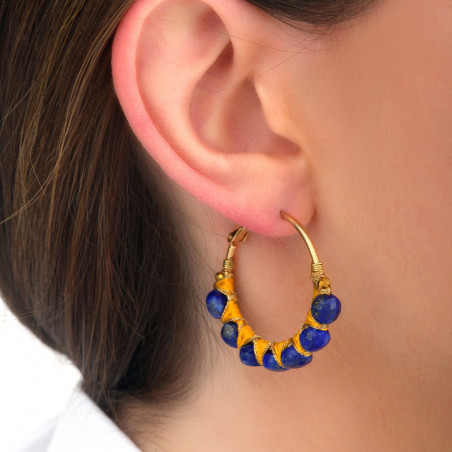Woven hoop earrings for pierced ears with lapis lazuli I blue85100