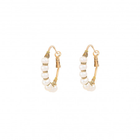 Woven hoop earrings for pierced ears with pearls I white