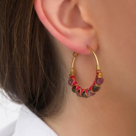 Boucles d'oreilles créoles percées tissées tourmaline I rose85104