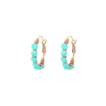 Boucles d'oreilles créoles percées tissées turquoise I turquoise