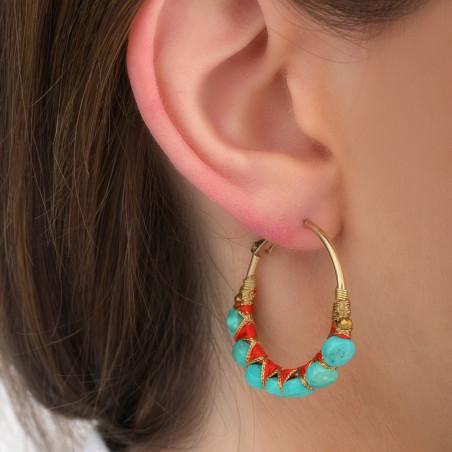 Boucles d'oreilles créoles percées tissées turquoise I turquoise85106
