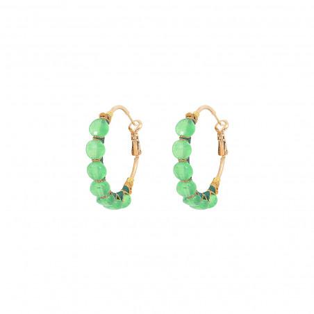 Woven hoop earrings for pierced ears with agate I green