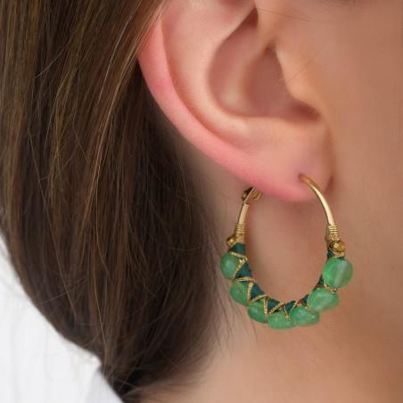 Woven hoop earrings for pierced ears with agate I green85108