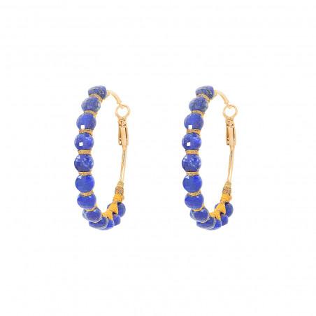 Boucles d'oreilles créoles larges percées tissées lapis-lazuli I bleu