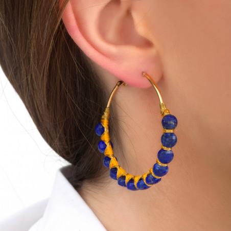 Boucles d'oreilles créoles larges percées tissées lapis-lazuli I bleu85110