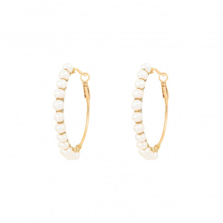 Large woven hoop earrings for pierced ears with peals I white