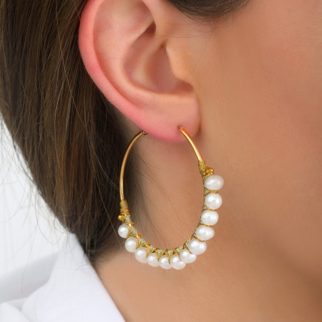 Large woven hoop earrings for pierced ears with peals I white85112