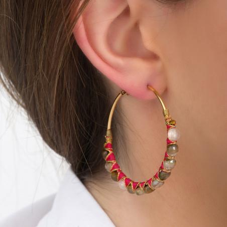 Boucles d'oreilles créoles larges percées tissées tourmaline I rose85114