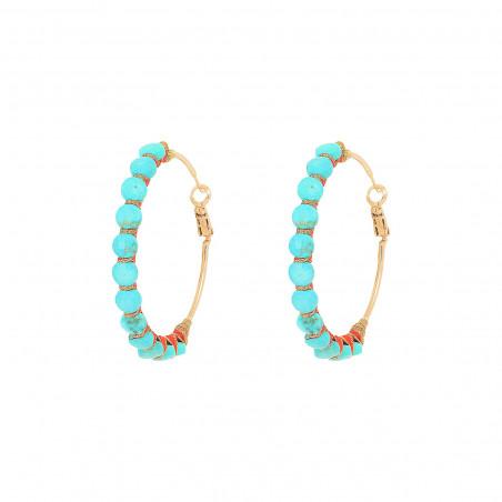 Boucles d'oreilles créoles larges percées tissées turquoise I turquoise
