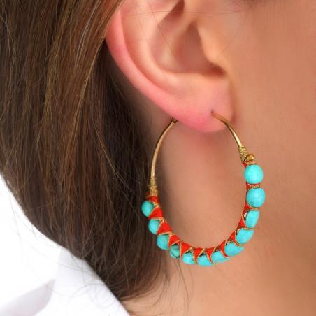 Boucles d'oreilles créoles larges percées tissées turquoise I turquoise85116