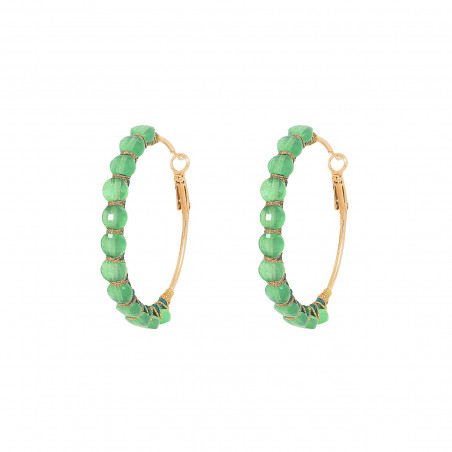 Large woven hoop earrings for pierced ears with agate I green