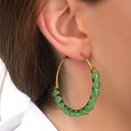 Large woven hoop earrings for pierced ears with agate I green85118