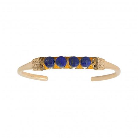 Bracelet jonc ajustable tissé mystérieux lapis-lazuli I bleu