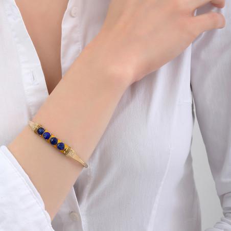 Bracelet jonc ajustable tissé mystérieux lapis-lazuli I bleu85120