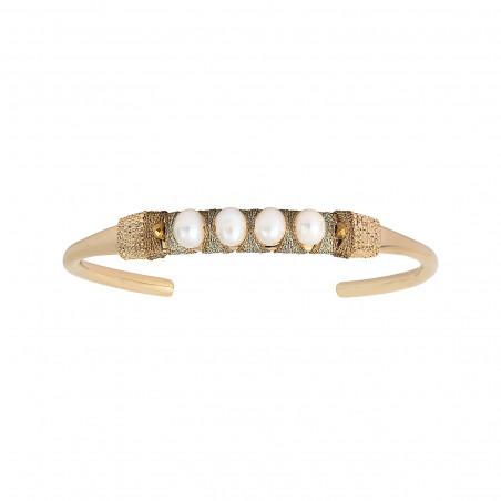 Bracelet jonc ajustable tissé sophistiqué perles I blanc