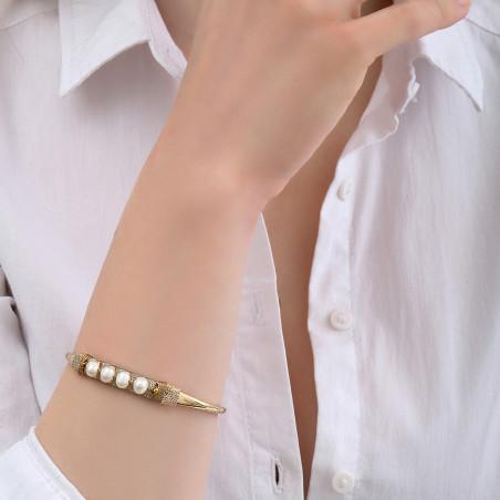 Bracelet jonc ajustable tissé sophistiqué perles I blanc85122