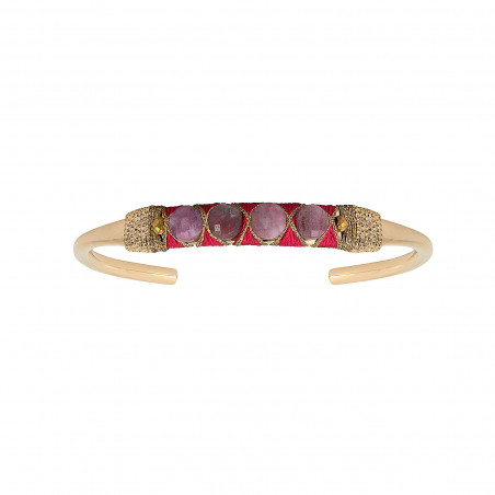 Bracelet jonc ajustable tissé romantique tourmaline I rose