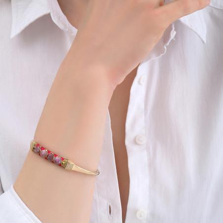 Bracelet jonc ajustable tissé romantique tourmaline I rose85124