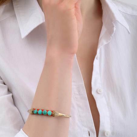 Bracelet jonc ajustable tissé féminin turquoise I turquoise85126