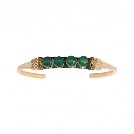 Bracelet jonc ajustable tissé baroque agate I vert
