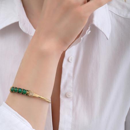 Bracelet jonc ajustable tissé baroque agate I vert85128