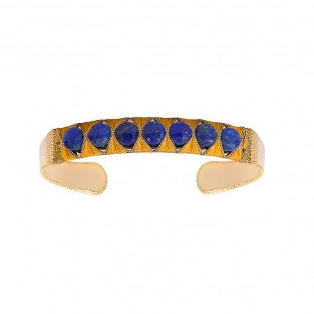 Bracelet jonc ajustable tissé poétique lapis-lazuli I bleu