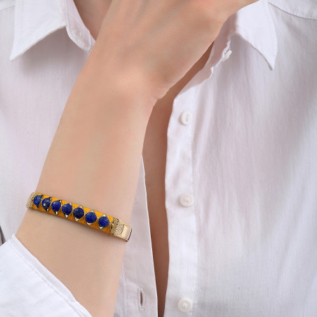 Bracelet jonc ajustable tissé poétique lapis-lazuli I bleu85130