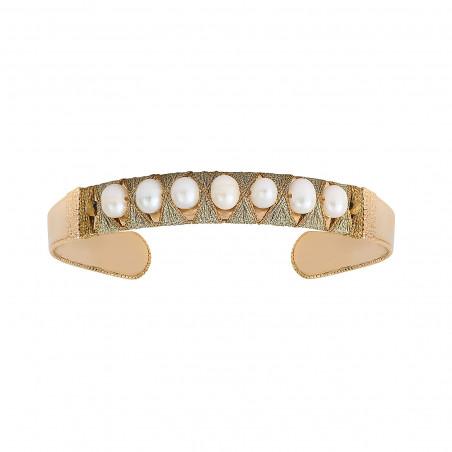 Bracelet jonc ajustable tissé intemporel perles I blanc