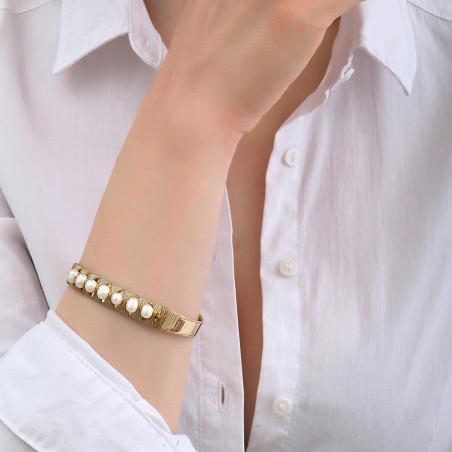 Bracelet jonc ajustable tissé intemporel perles I blanc85132