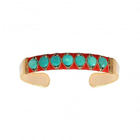 Bracelet jonc ajustable tissé bohème turquoise I turquoise
