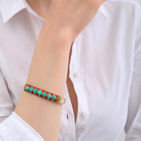 Bracelet jonc ajustable tissé bohème turquoise I turquoise85136