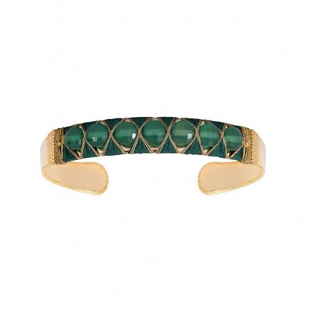 Bracelet jonc ajustable tissé contemporain agate I vert