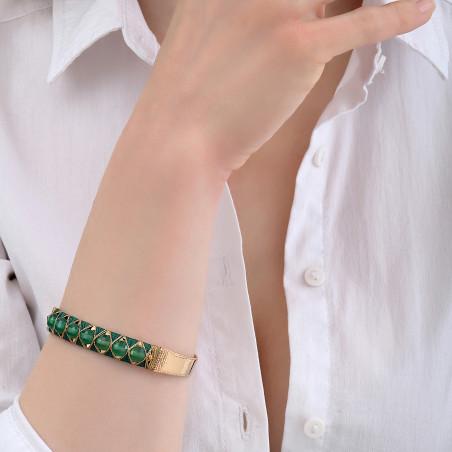 Bracelet jonc ajustable tissé contemporain agate I vert85138