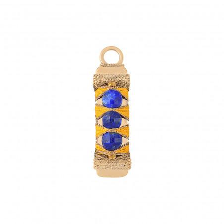 Pendentif tissé poétique fils métallisés et lapis-lazuli I bleu