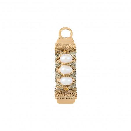 Pendentif tissé sophistiqué fils métallisés et perles I blanc