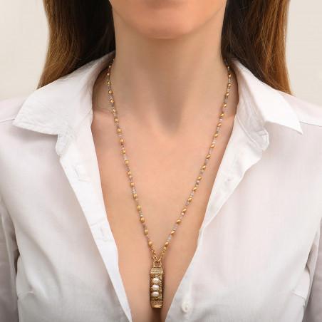 Pendentif tissé sophistiqué fils métallisés et perles I blanc85143
