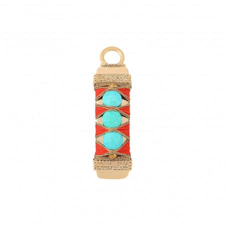 Pendentif tissé bohème fils métallisés et turquoise I turquoise
