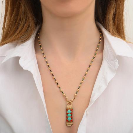 Pendentif tissé bohème fils métallisés et turquoise I turquoise85149