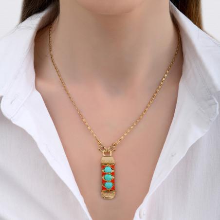 Pendentif tissé bohème fils métallisés et turquoise I turquoise85150