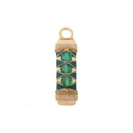 Pendentif tissé élégant fils métallisés et agate I vert