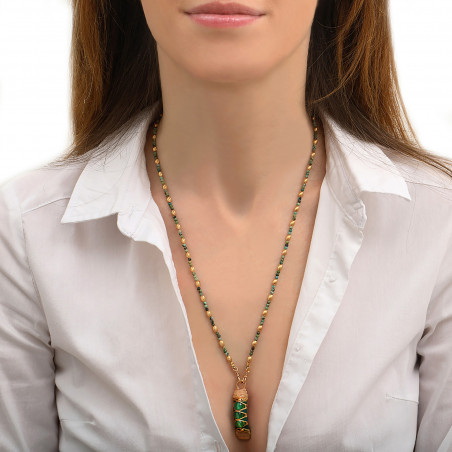 Pendentif tissé élégant fils métallisés et agate I vert85152