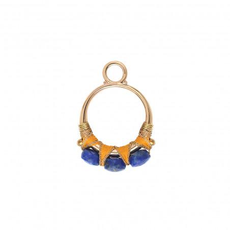 Pendentif tissé pop fils métallisés et lapis-lazuli I bleu