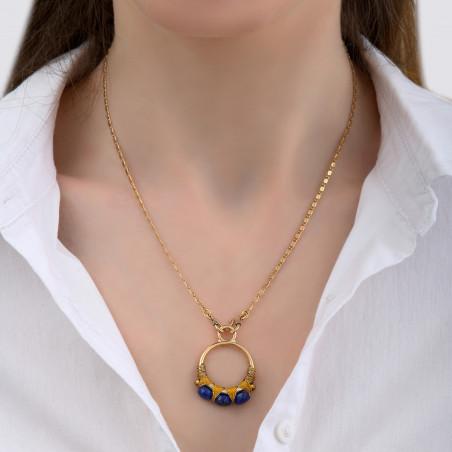 Pendentif tissé pop fils métallisés et lapis-lazuli I bleu85156
