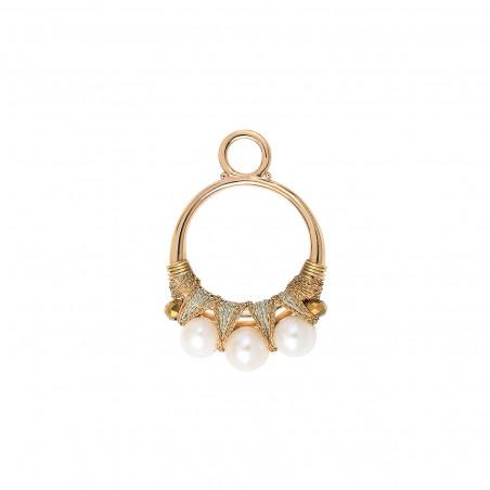 Pendentif tissé raffiné fils métallisés et perles I blanc