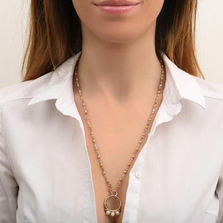 Pendentif tissé raffiné fils métallisés et perles I blanc85158