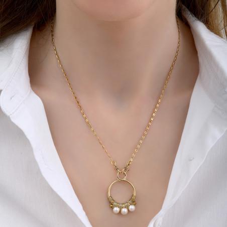 Pendentif tissé raffiné fils métallisés et perles I blanc85159