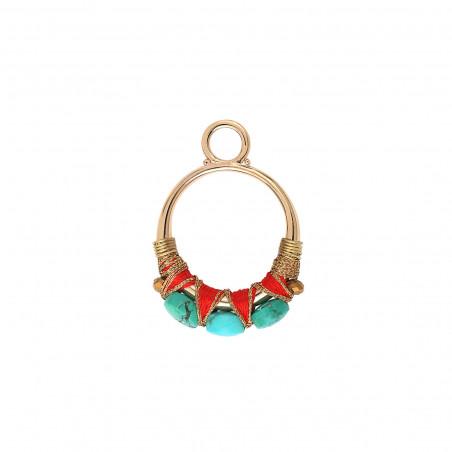 Pendentif tissé glamour fils métallisés et turquoise I turquoise