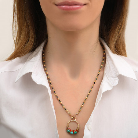 Pendentif tissé glamour fils métallisés et turquoise I turquoise85164