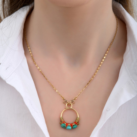 Pendentif tissé glamour fils métallisés et turquoise I turquoise85165